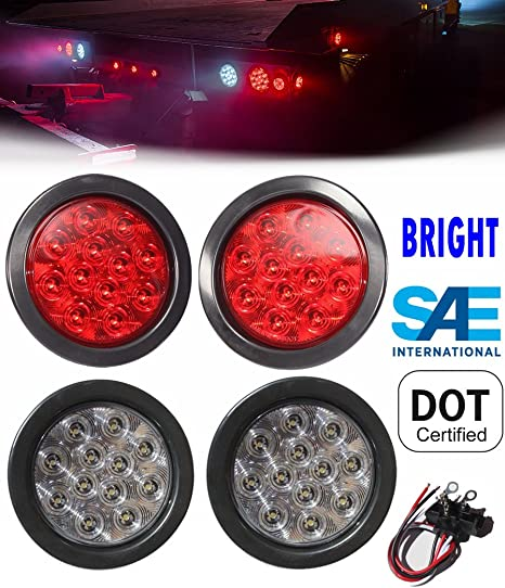 """2pcs 4"""" Round 17 Red LED Backup Stop Turn Tail Truck Light Clear Lens 3 Wires"""