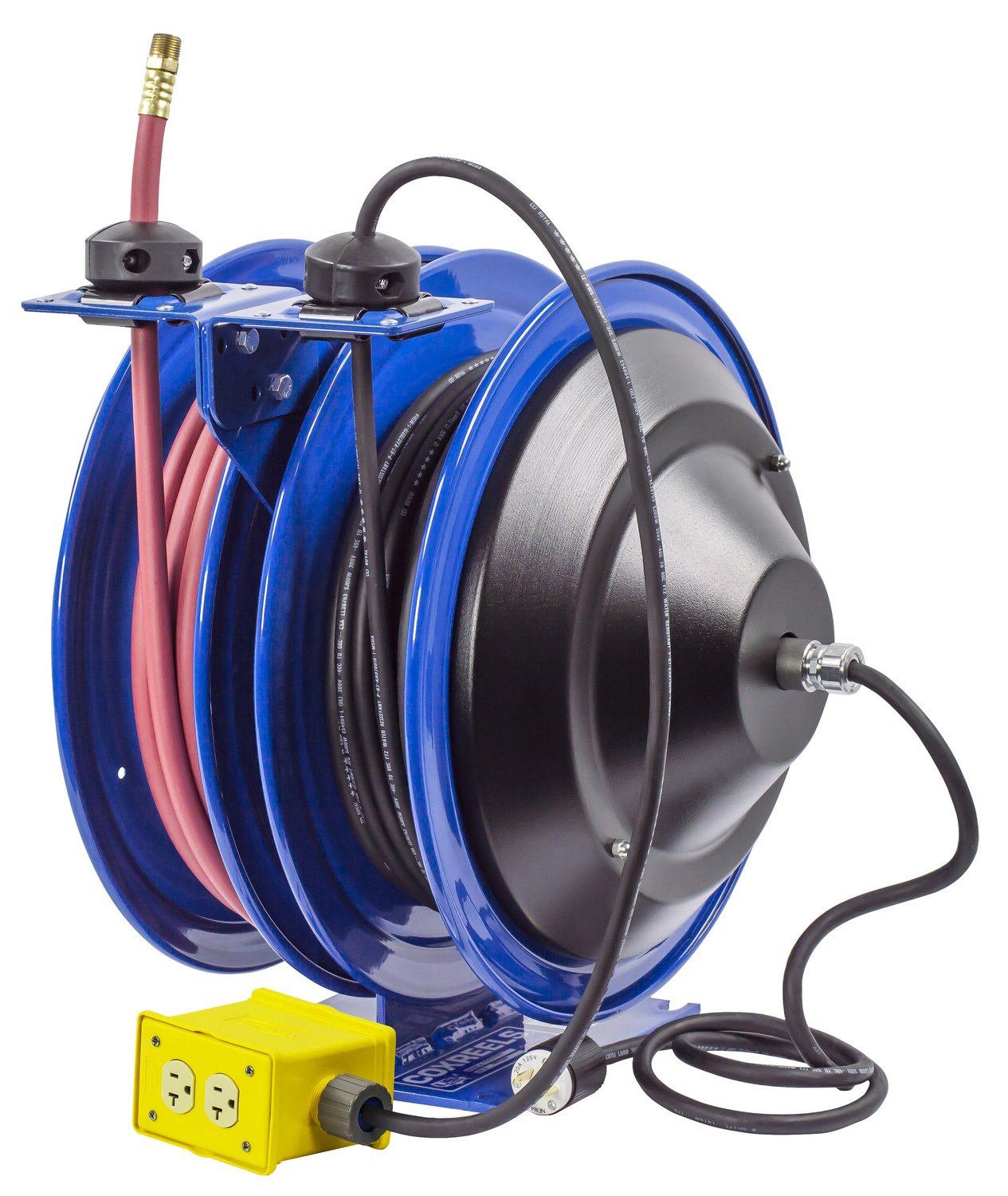 Coxreels C-L350-5012-B Combo Air and Electric Hose Reel with Quad Outlet Attachment, 3/8'' Hose ID, 50' Length by Coxreels (Image #5)