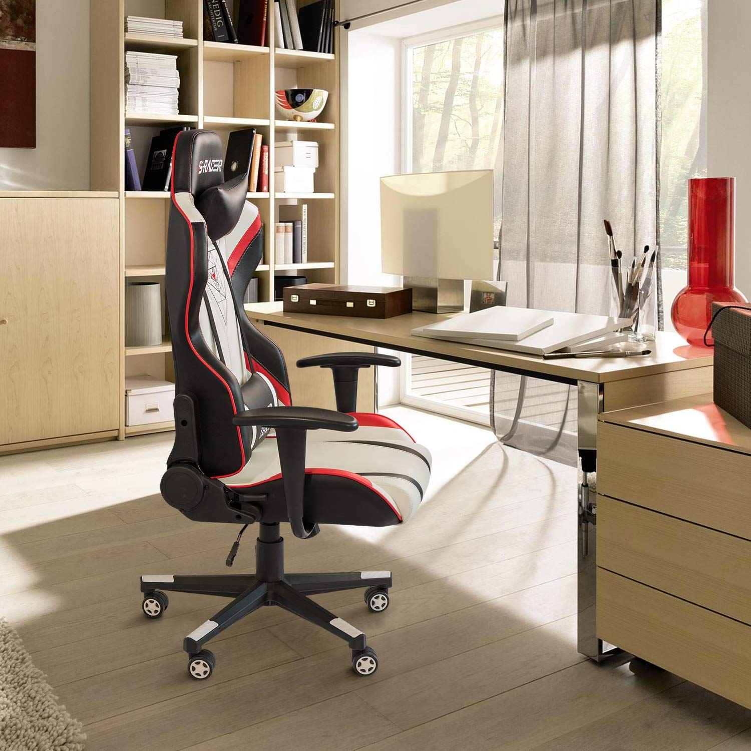 Homall Gaming Chair Racing Office Chair High Back PU Leather Computer Desk Chair Executive and Ergonomic Swivel Chair with Headrest and Lumbar Support Black//White
