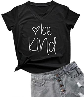 YEVEEY Womens Be Kind V-Neck T Shirt Letter Print Casual Tee Short Sleeve Tops