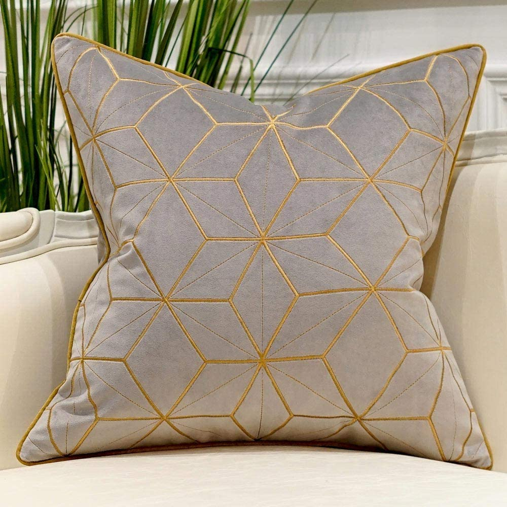 Avigers 20 x 20 Inches Grey Gold Plaid Cushion Cases Luxury European Throw Pillow Covers Decorative Pillows for Couch Living Room Bedroom Car
