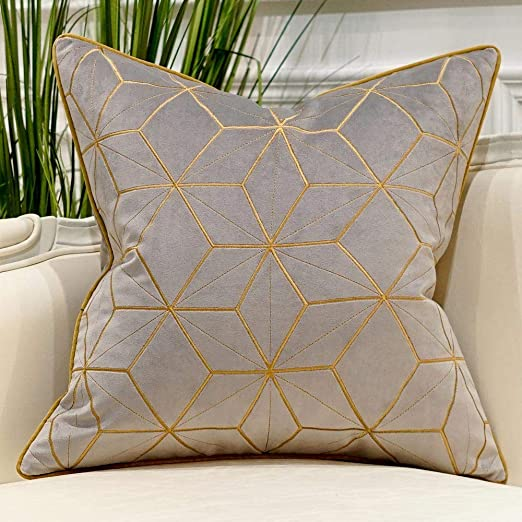 Amazon.com: Avigers 18 x 18 Inches Grey Gold Plaid Cushion Case