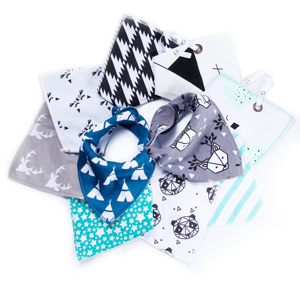 10-Pack Baby Bibs,Included 2 Pack Bibs With Loop To Attach The Pacifier