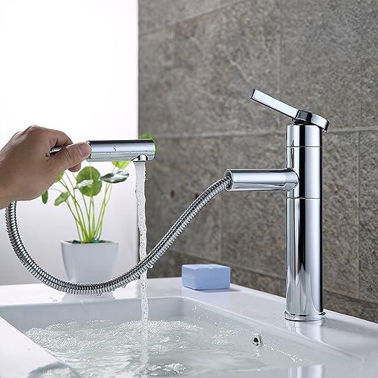 homelody robinet salle de bain extractible en laiton chromé ... - Robinet Salle De Bain Avec Douchette