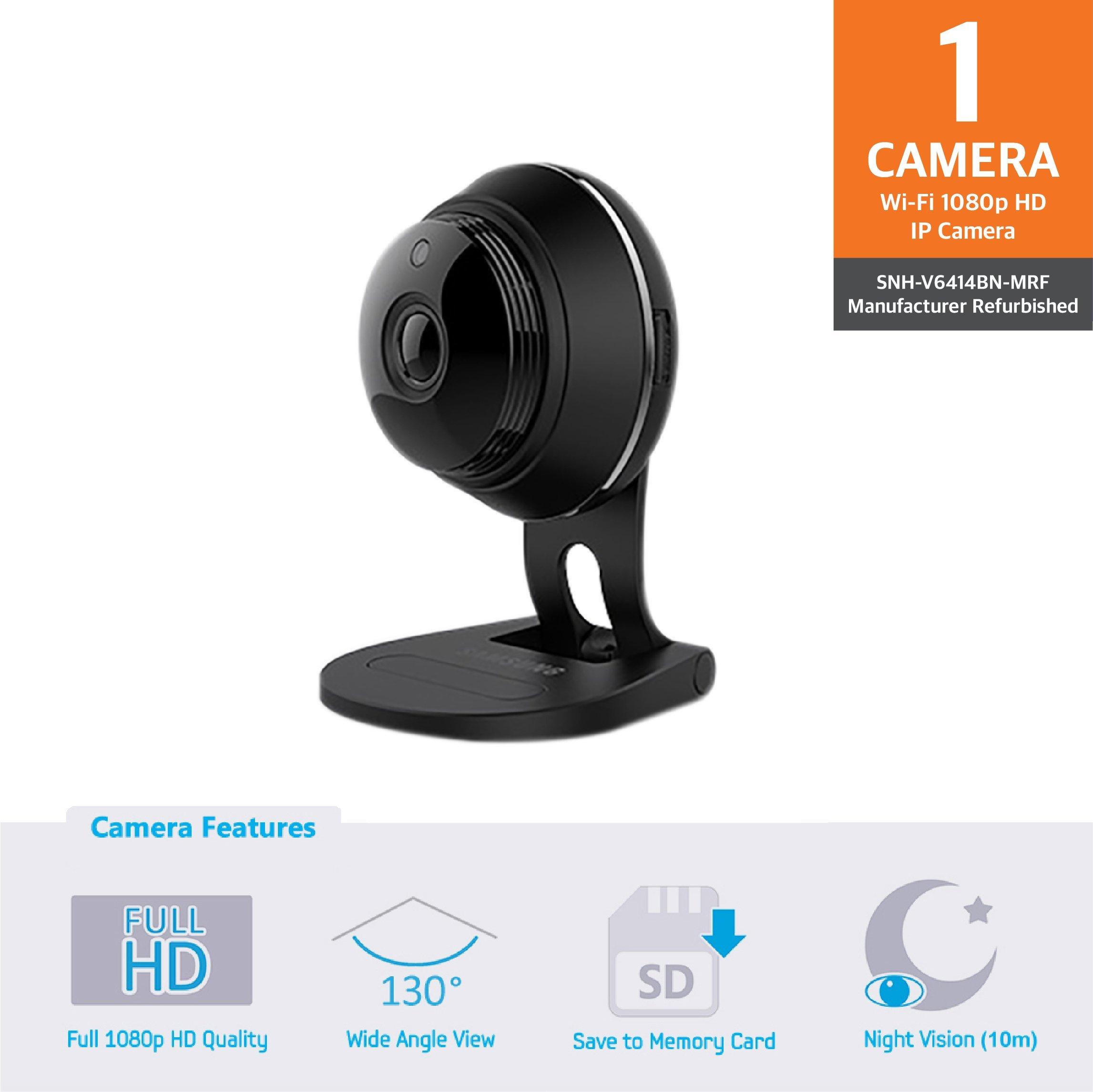 Samsung SNH-V6414BN SmartCam Full HD Plus 1080p WiFi IP Camera, Black (Certified Refurbished)