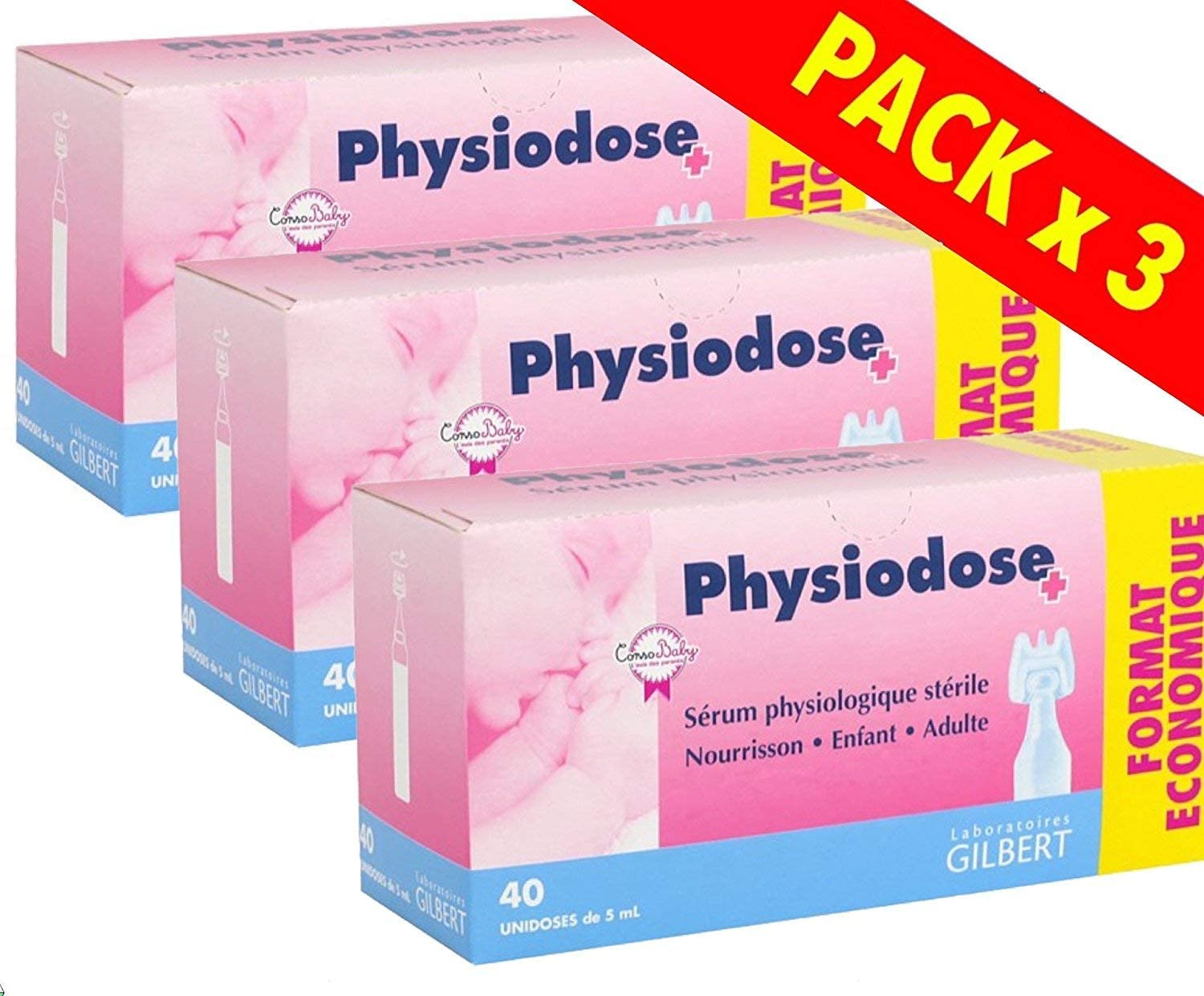 Physiodose Physiological Serum 3 Boxes of 40 Single Doses