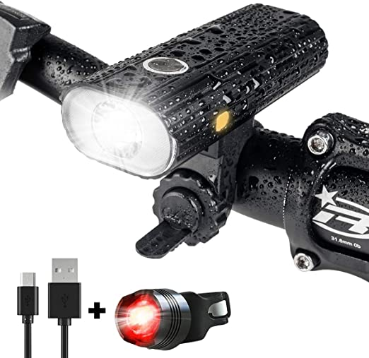 LED Bike Light Set 1200 Lumen Dual Beads Mountai USB Rechargeable with 6 Modes