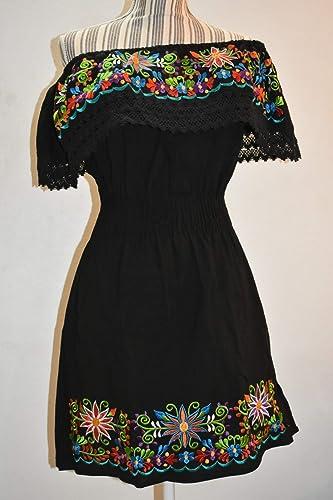 Vestido Bordado Artesanal Mexicano Oaxaca Vestido Strapless Vestido Negro Bordado Vestido Corto Juvenil