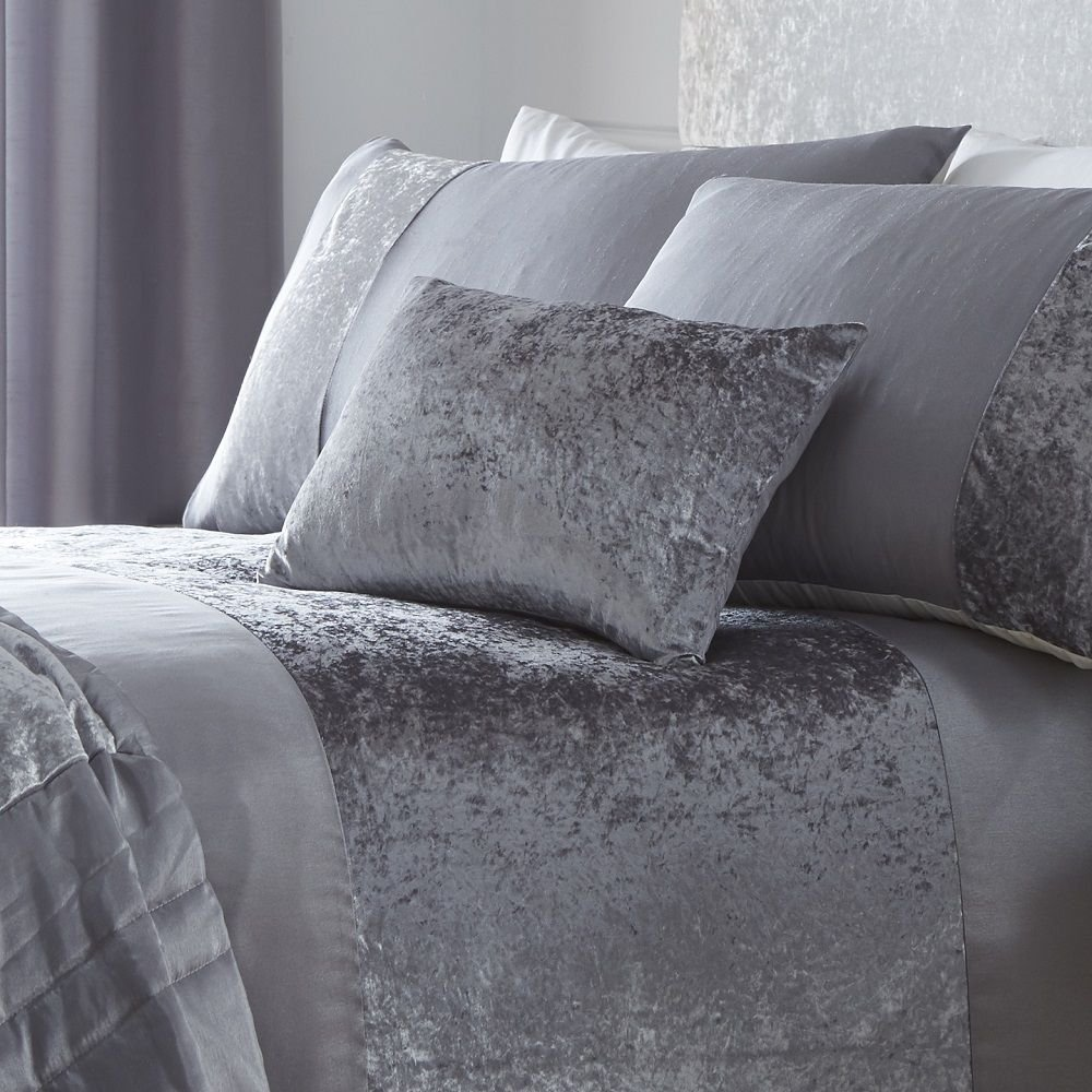 Boulevard Velvet Strip Oblong Scatter Boudior Cushion, Grey