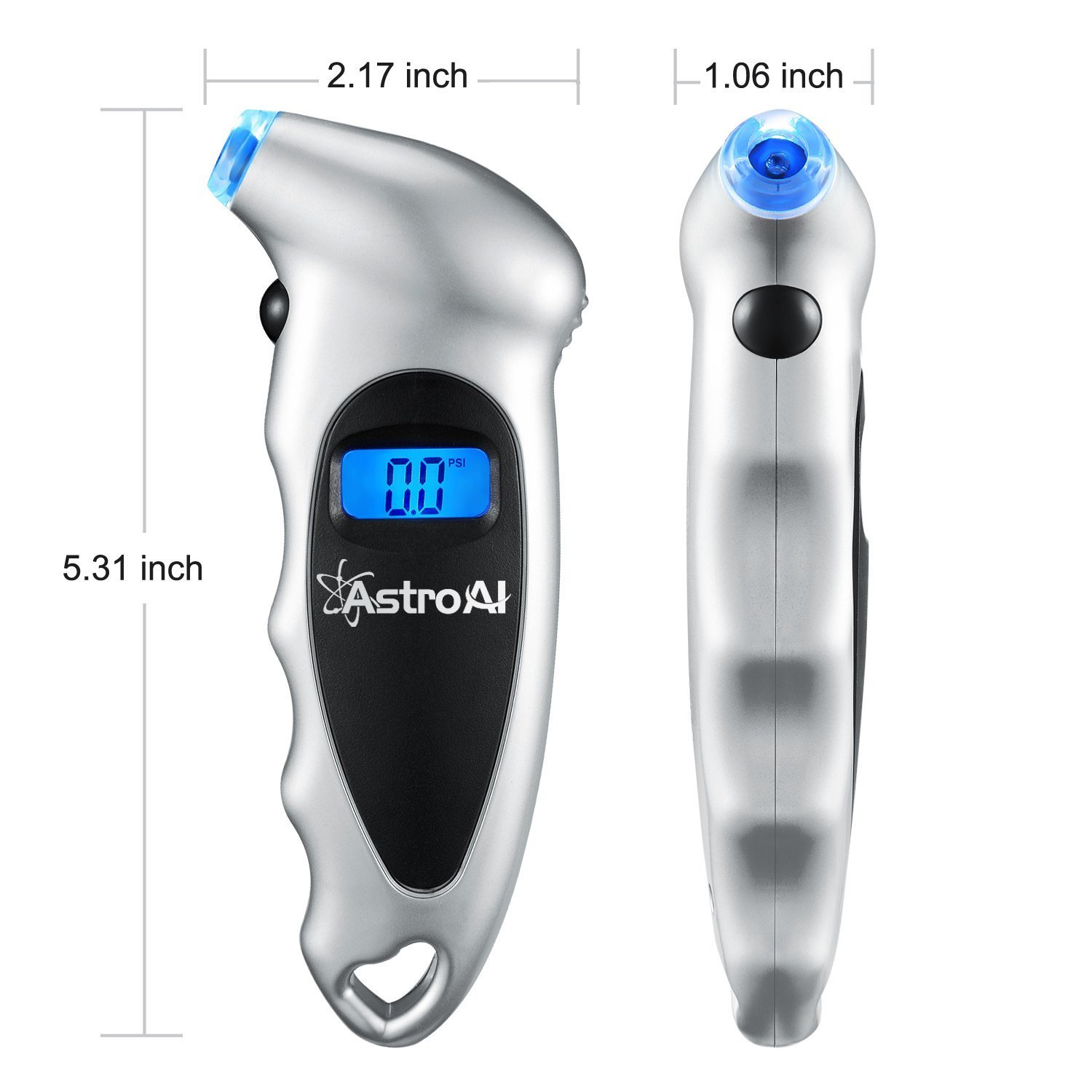 AstroAI Case of 100, Digital Tire Pressure Gauge 150 PSI 4 Settings for Car Truck Bicycle with Backlit LCD and Non-Slip Grip, Silver by AstroAI (Image #4)
