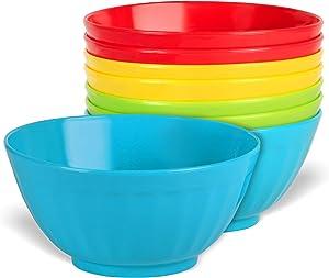 Plaskidy Plastic Bowls Set of 8-28 Ounce Children Plastic Cereal Bowls Microwave Dishwasher Safe Plastic Soup Bowls - BPA Free Kids Bowls 4 Bright Colors (2 of Each Color)