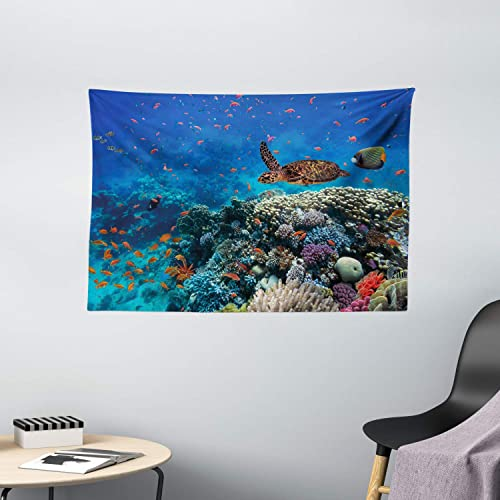 Ambesonne Fish Tapestry, Exotic Fish and Turtle in Fresh Water on Stony Corals Bio Diversity Wild Life Photo, Wide Wall Hanging for Bedroom Living Room Dorm, 60 X 40 , Ocean Blue