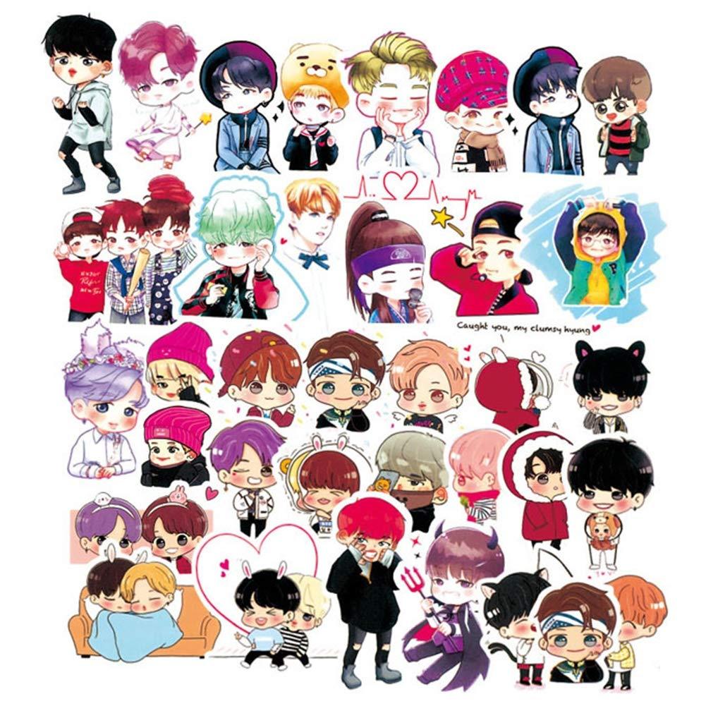 yeahnow 58/63pcs Kpop BTS Bangtan Boys PVC Adhesive Sticker For Laptop Luggage Fans Gift (58)