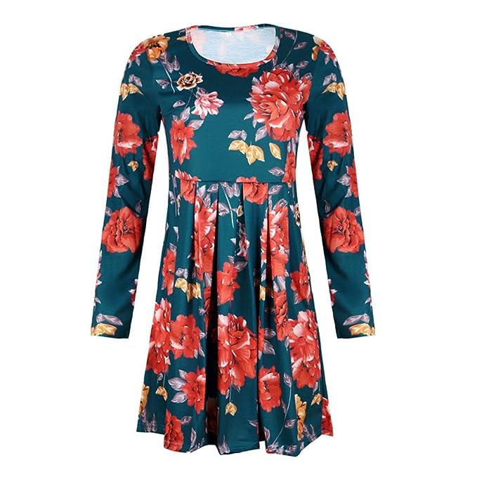 ALIKEEY Womens ❤ Full Sleeve Vintage Boho Maxi Evening Party Playa Vestido De Flores Ultra