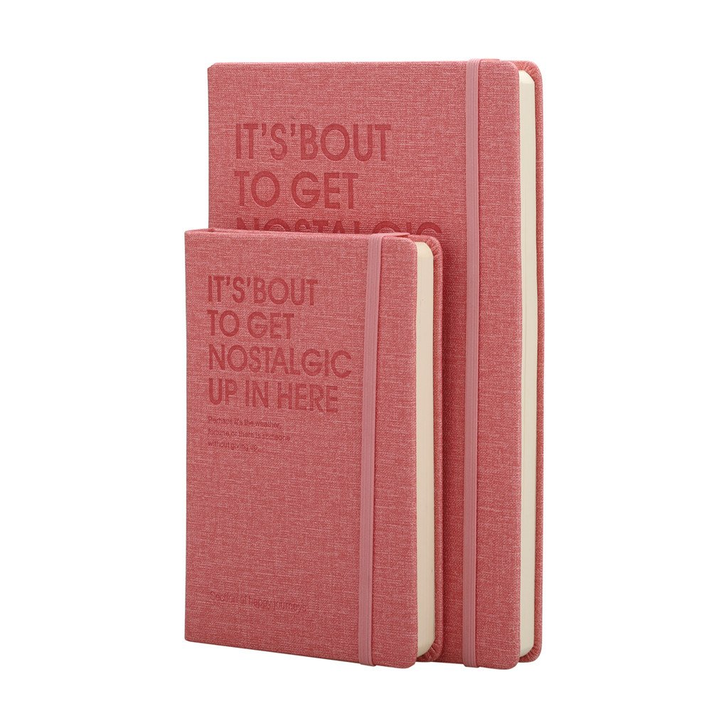 2 Pack Hardcover Ruled Notebook, A5 Notebook + A6 Small Pocket Notebooks, 240 Pages, Elastic Closure + Inner Pocket, 4 Color (Black, Blue, Pink, Brown) (Pink)