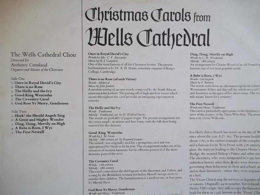 WELLS CATHEDRAL CHOIR Christmas Carols from Wells vinyl LP: Amazon ...
