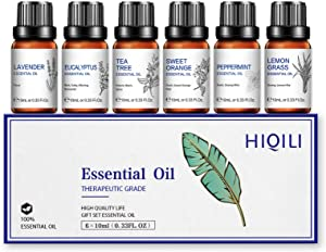 Essential Oils for Diffusers for Home,Natural Pure Aromatherapy Oils Gift Set for Humidifiers,Skin Care,Hair Care,Massage,Spray,Soak Making- 6X10ml