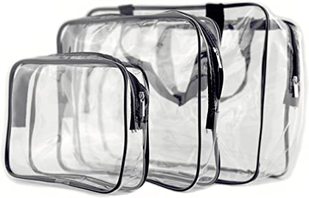 3 PCS Cosmetic Bag Clear Travel Toiletry Bag Set with Zipper Pouch Handle Straps - Portable Travel Luggage Pouch Airport Airline Vacation Organization - Vinyl PVC Make-up Pouch for Women & Men