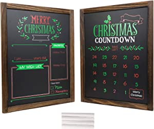 """Christmas Decoration: Wooden Chalkboard Frame Photo Prop Board Sign for Kids & Holiday Countdown Christmas Decor. Erasable and Reusable 13"""" x 17"""". White Chalk Included. Set of 2 Boards (Version 2)"""