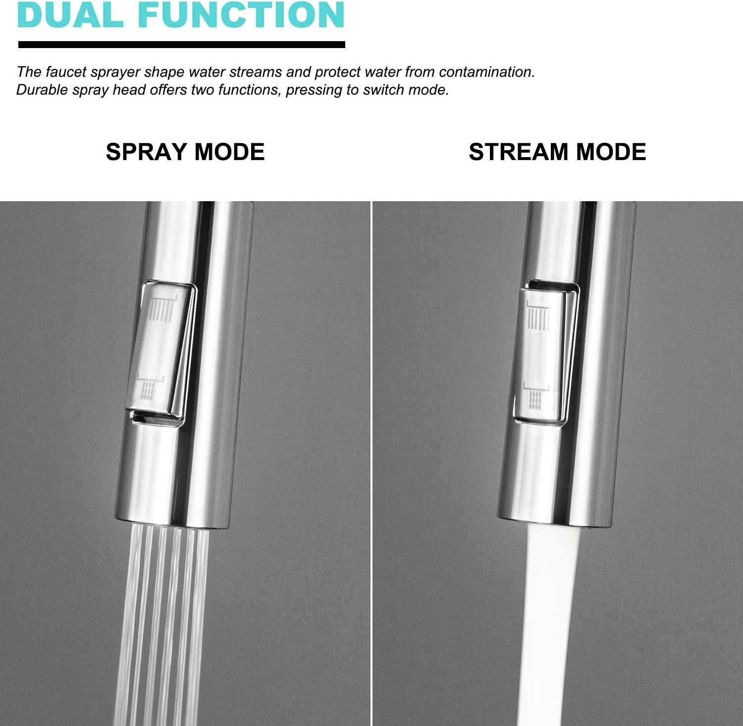 Pull Down Kitchen Faucet Spray Head D1003BR KOKOSIRI Nozzle Spout Replacement Part 3-Functions G 1//2 Pull Out Spray Head Brushed Nickel
