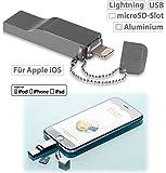 Callstel USB Stick iPhone: USB Speicher-Erweiterung für iPhone/iPad/iPod, bis 128 GB, Apple MFI (Speichererweiterung iPhone)
