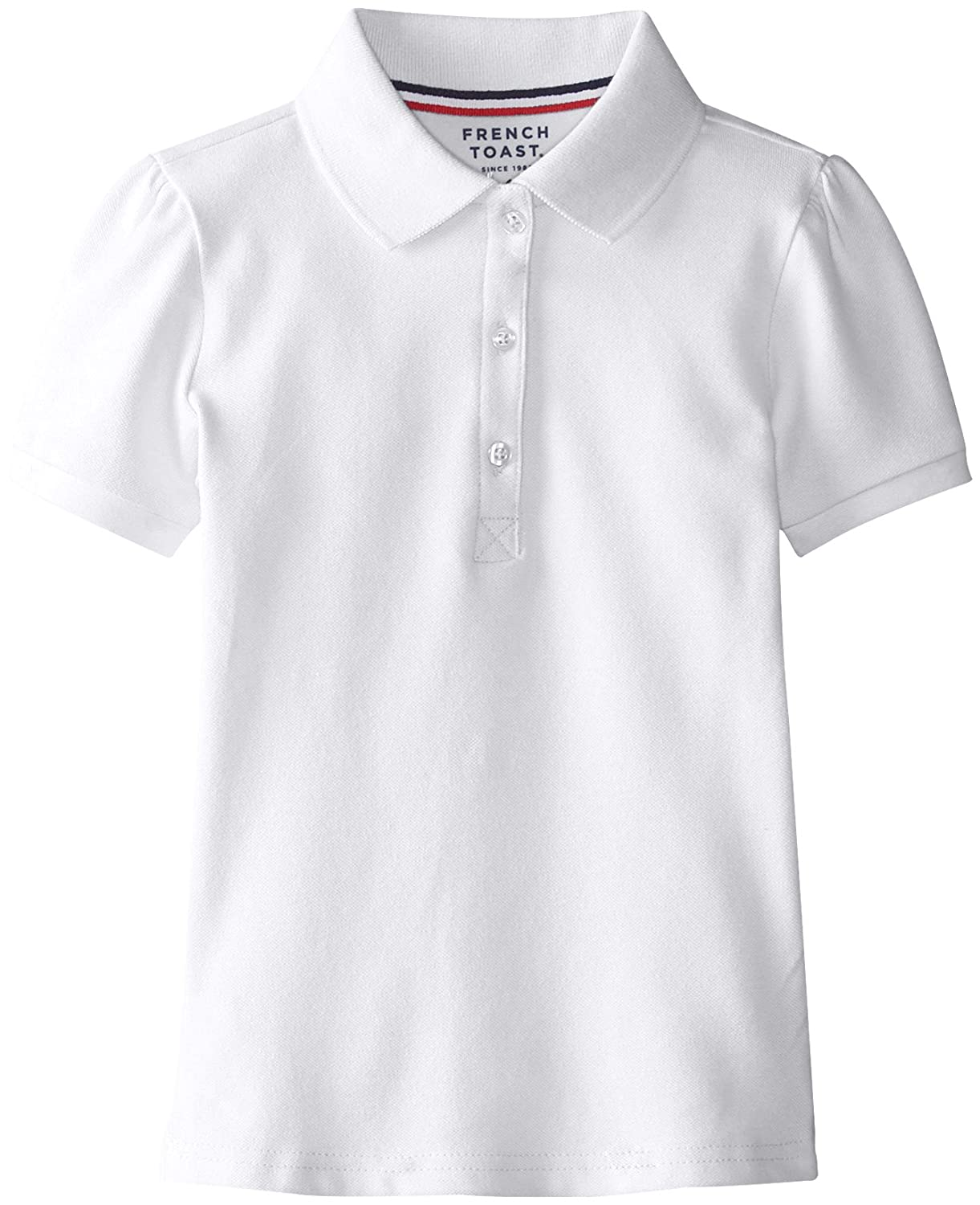 French Toast Little Girls' Short Sleeve Stretch Pique Polo, White, 4 1403B WHIT 4