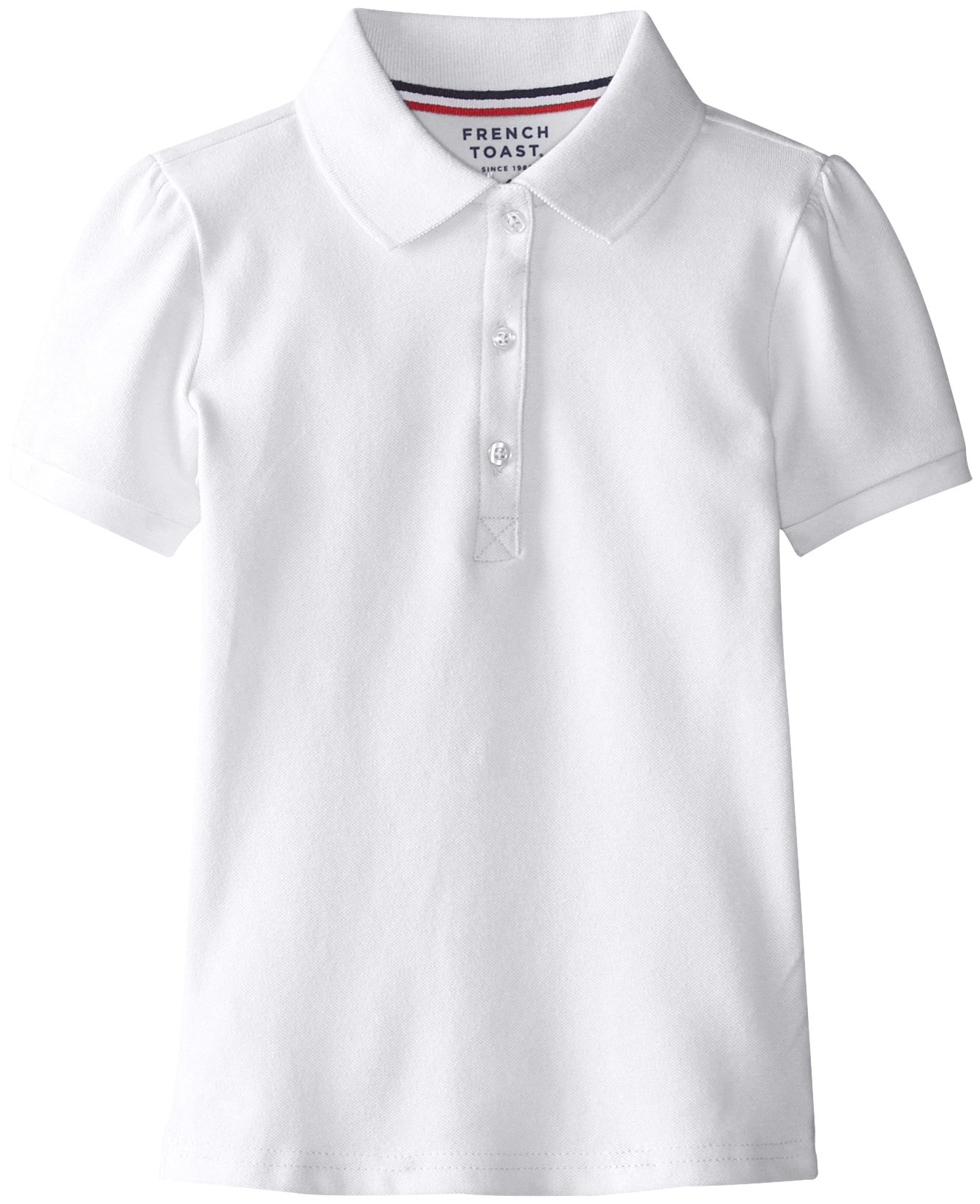 French Toast Little Girls' Short Sleeve Stretch Pique Polo, White, 4
