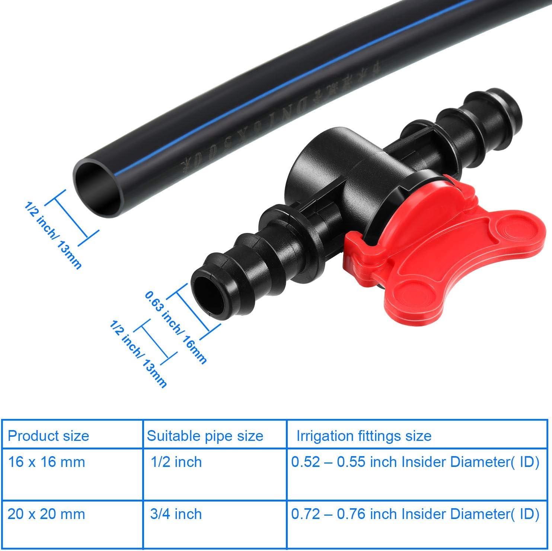 Válvula de riego púas en línea de plástico 16mm X 4