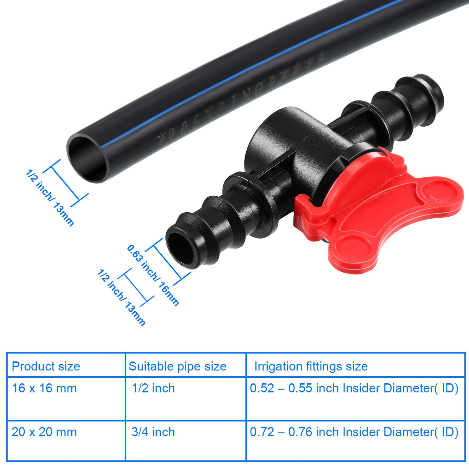 4 Pack Drip Irrigation Switch Valve for 1//2 Inch Double Male Barbed Valve