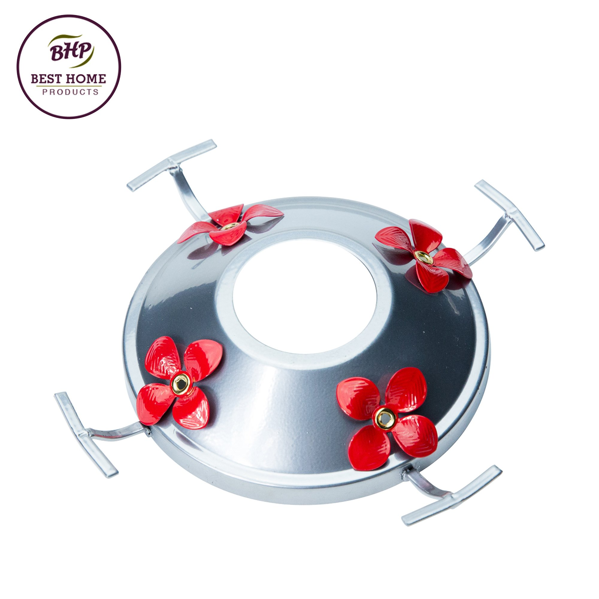 Hummingbird Feeder Metal Base with Perch & Tray | Replacement for Glass Feeders | By Best Home Products (Silver w/Red Flowers)