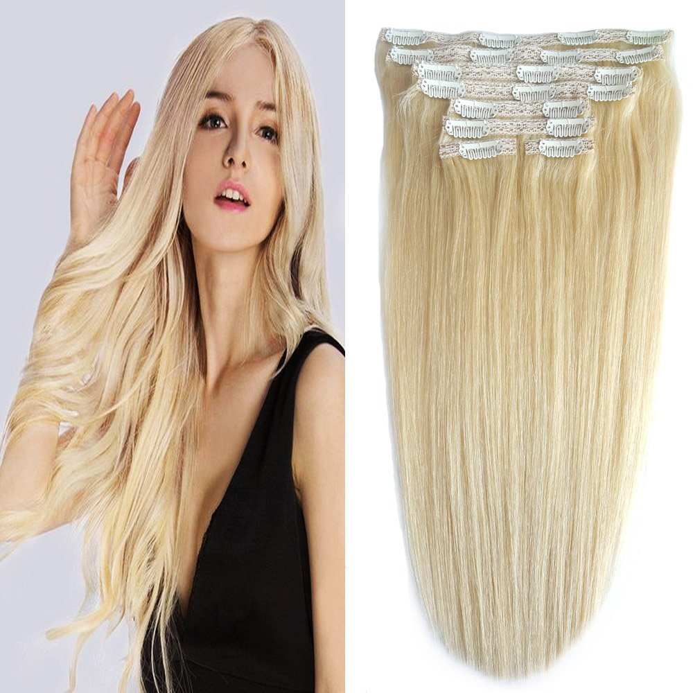 Human Hair Extensions Clip On Re4u Bleach Blonde Clip In Natural