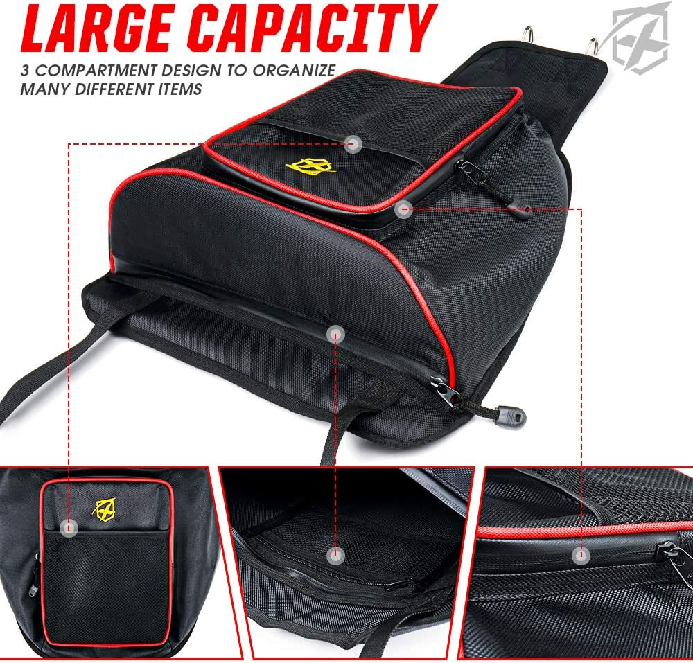 Xprite UTV Center Seat Storage Bag with Red Lining for Polaris RZR 570 800 S 900 1000 XP