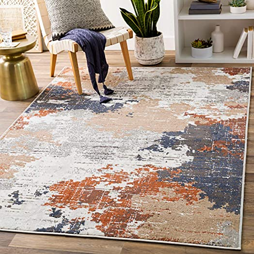 Balerno 6 7 x 9 Modern Area Rug – Terracotta, Charcoal, Navy, Light Gray, Tan, Silver Gray, White – Rectangle – 100 Polypropylene
