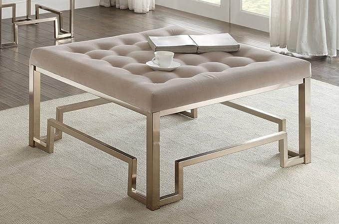 Acme Furniture Damien Tufted Cocktail Ottoman Fabric Champagne Furniture Decor