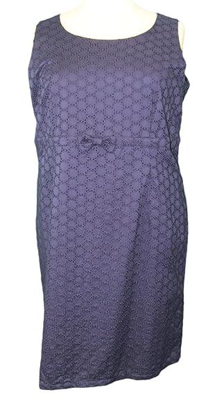 MARINA RINALDI by MaxMara Illuse Navy Blue Eyelet Empire Waist Dress 12W / 21