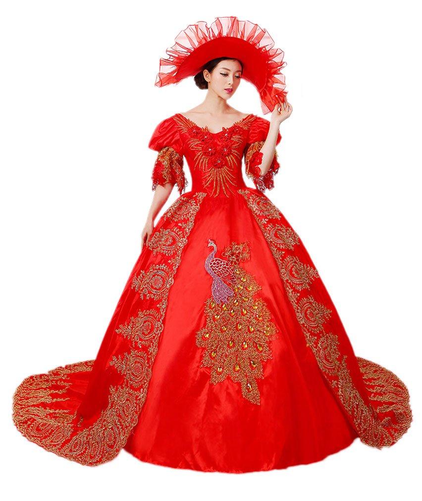 Zukzi Women's Gorgeous Victorian Train Ball Gown Wedding Dress, US 18, #W018 Red