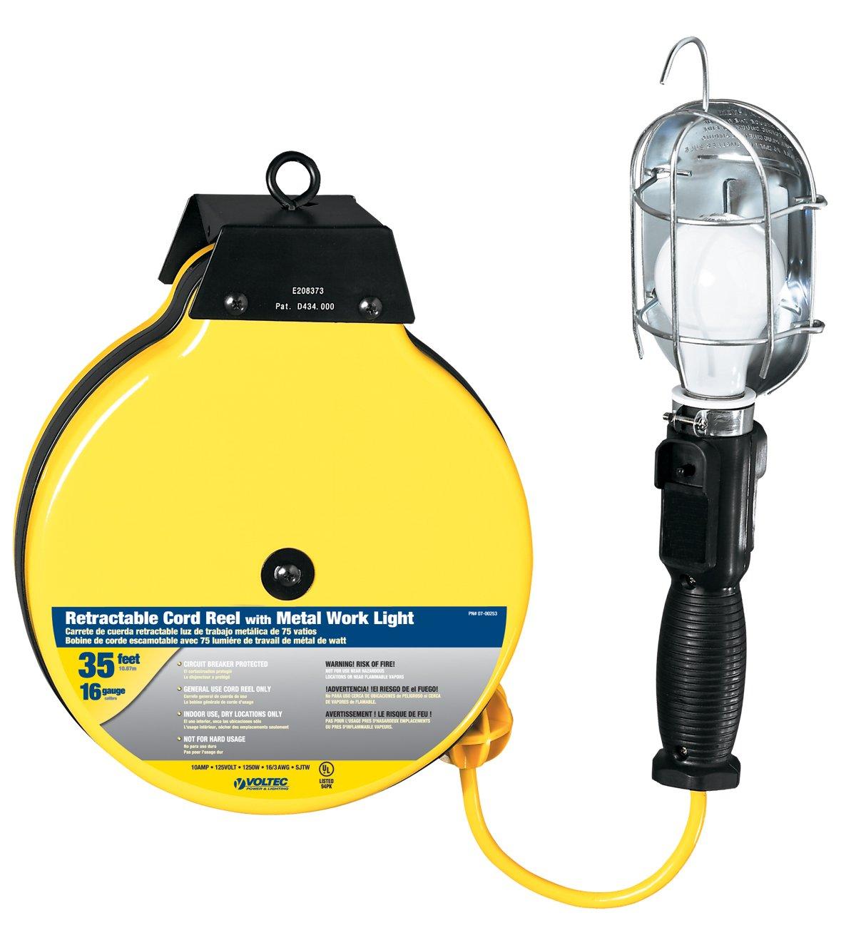 Voltec 07-00253 16/3 SJTW Metal Guard Worklight Retractable Reel, 35-Foot, Yellow & Black