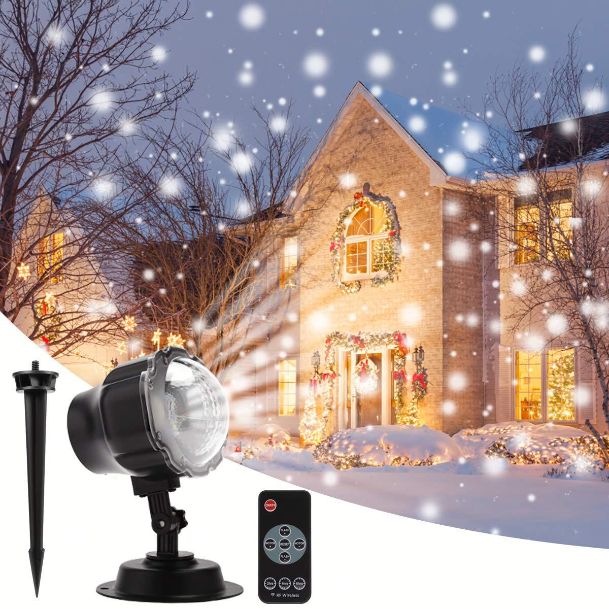 B-right® LED Projektionslampe, Schneepunkt Projektor Lampe Weihnachtsprojektor Licht Innen-Außen Stimmungsbeleuchtung für Weihnachten, Party, Hochzeit