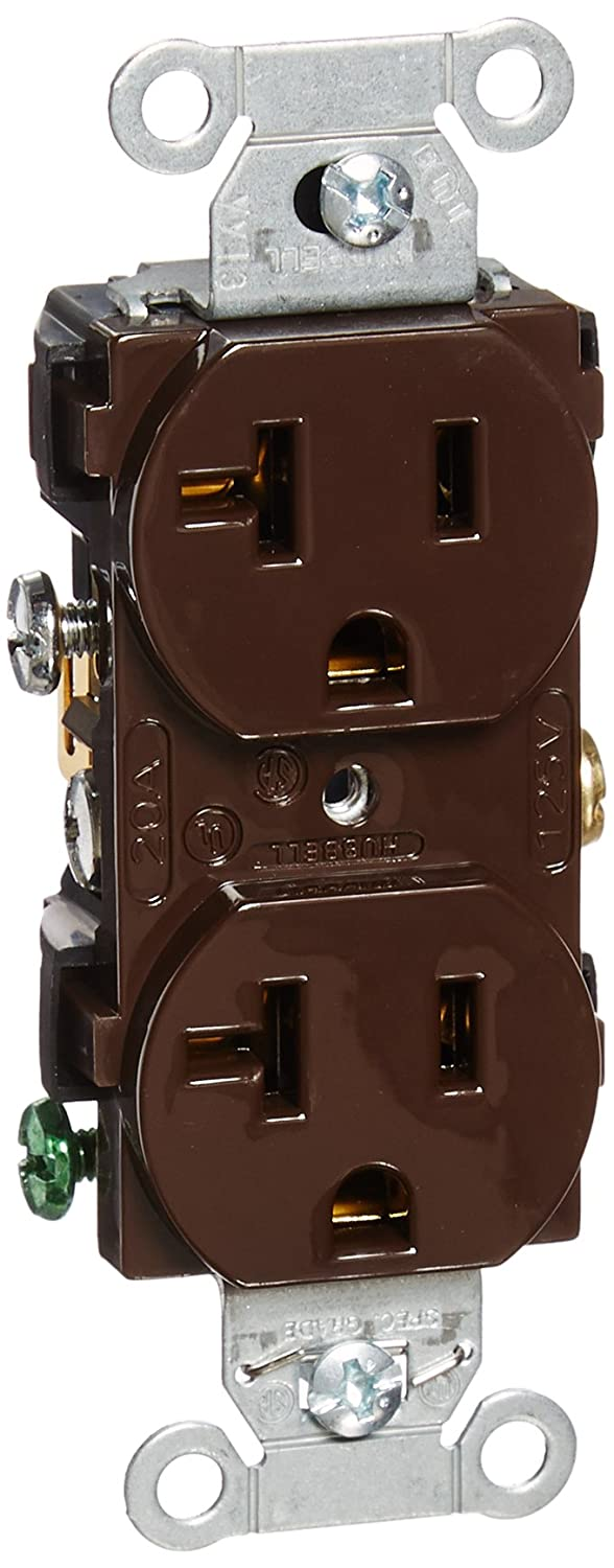 Hubbell Cr20 Duplex Receptacle Common Ground 20 Amp 125v 5 R Wiring Switch Brown Pack Of 10 Industrial Scientific
