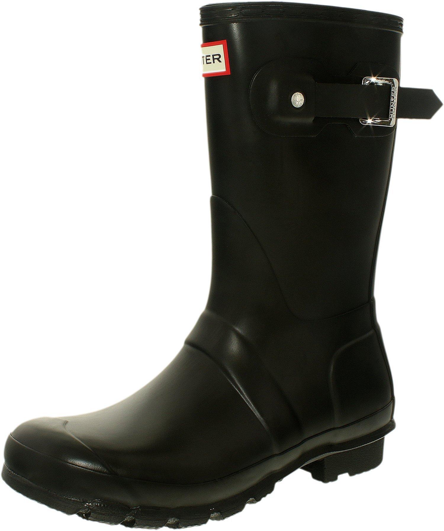 Hunter Women's Original Short Black Mid-Calf Rubber Rain Boot - 7M