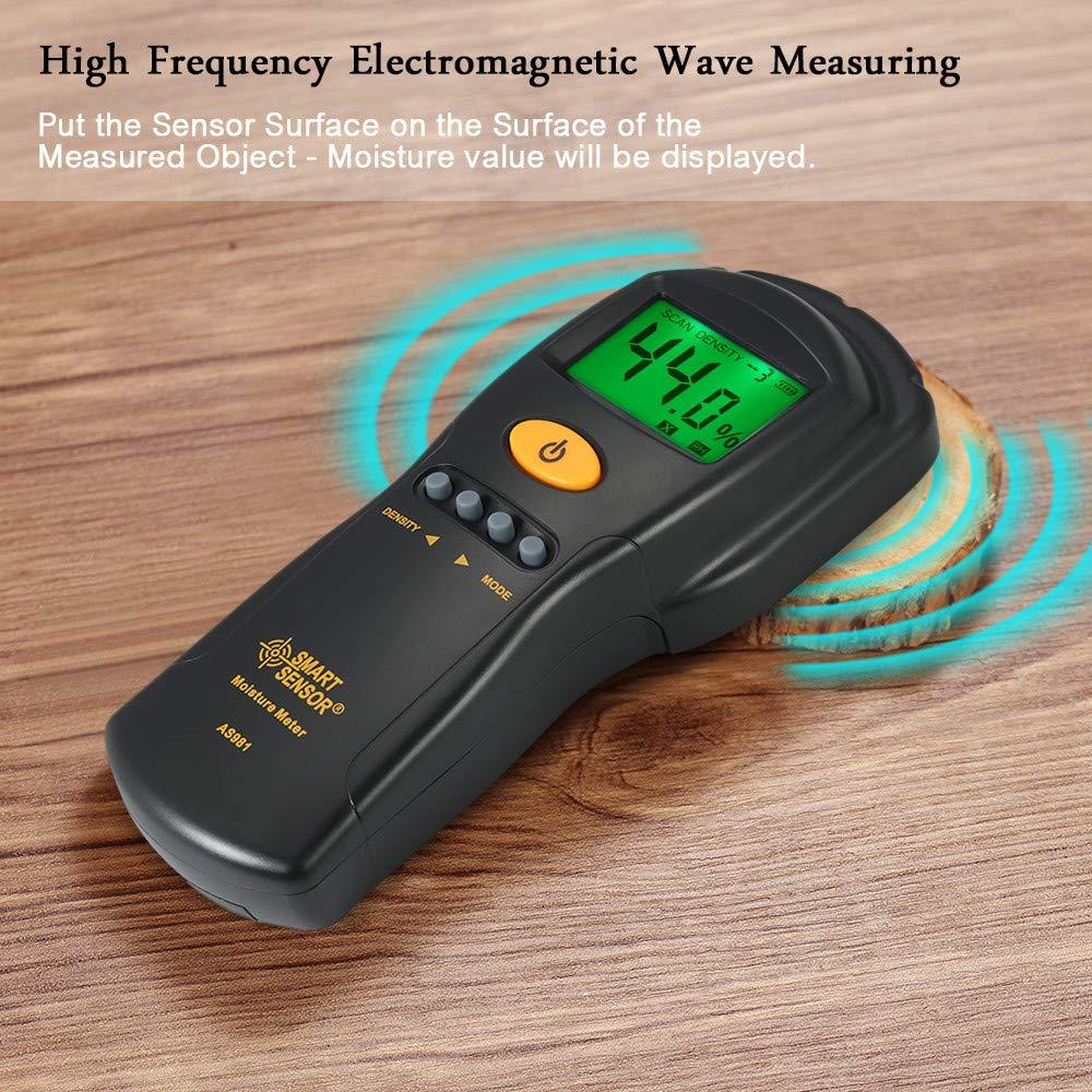 Digital hygrometer Moisture Meter for wood/cardboard Lumber Humidity Tester Fast & Precise Microwave Measurement LCD display by SMART SENSOR (Image #2)