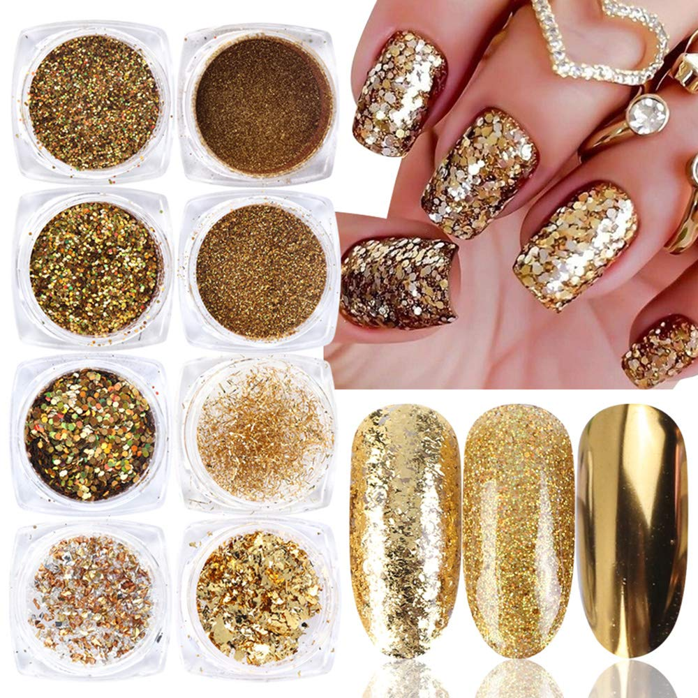 Amazon Com 8pcs Gold Nail Art Glitter Set Holographic Shiny Mirror Powder Dust Mix Irregular Aluminum Sequins Gold Foil Flakes Hexagon Paillette For Nail Art Decorations Acrylic Gel Nails Decor Nail Charms Beauty