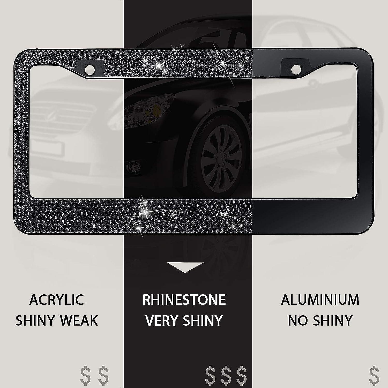 Ring Emblem Sticker 6 Pieces Bling Rhinestone Car Accessories Set Includes Bling License Plate Frame Black Valve Stem Caps Tire Valve Dust Caps for Auto Car Ornament Decoration