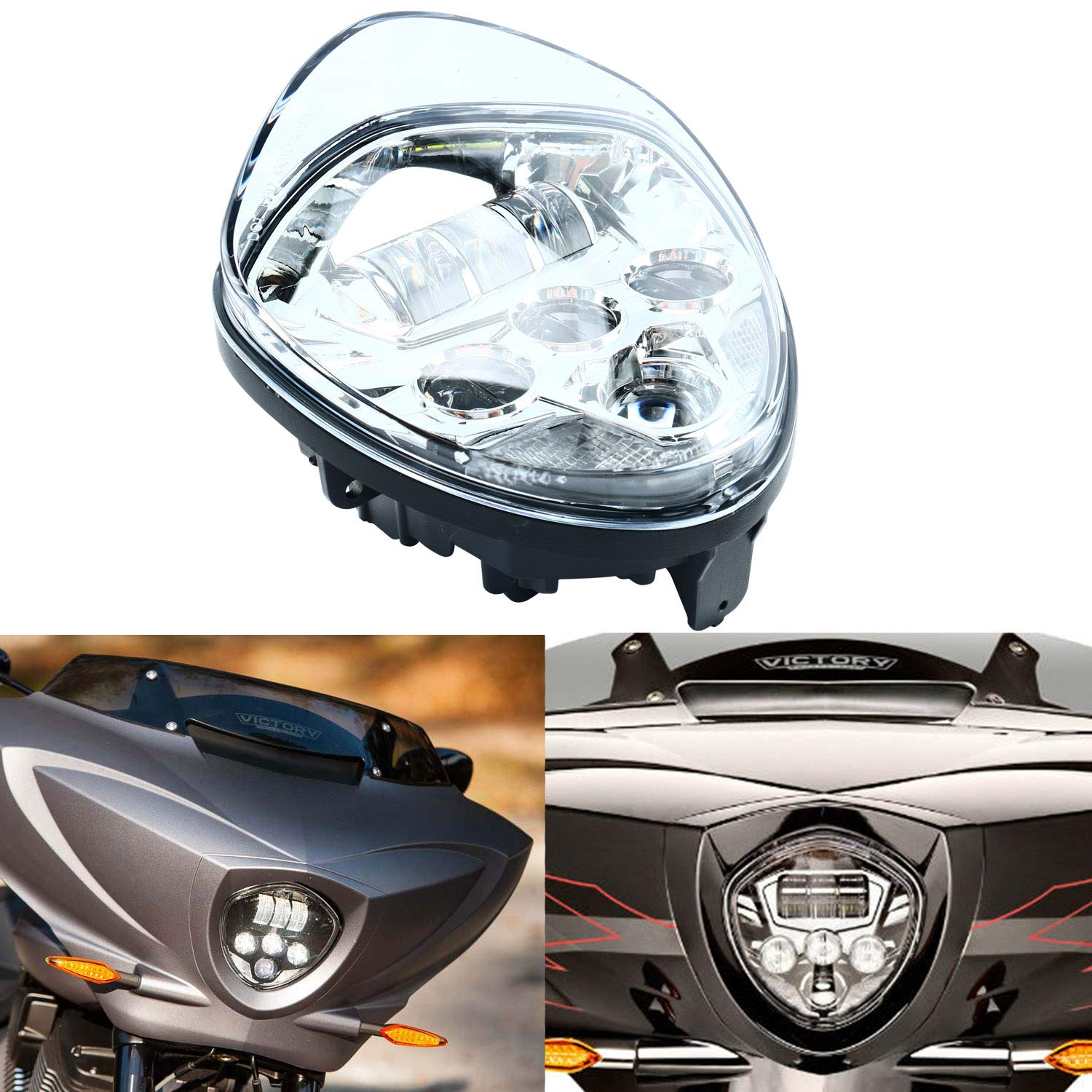 Itd 60w Cree Chip Chrome Motorcycle Headlights Assembly IP67 LED Motorcycle Headlamp Kit for Victory Motorcycle Headlight Accessory LED Motorcycle Lights Victory Motorcycles Cross Country Series Yae First Trading Co