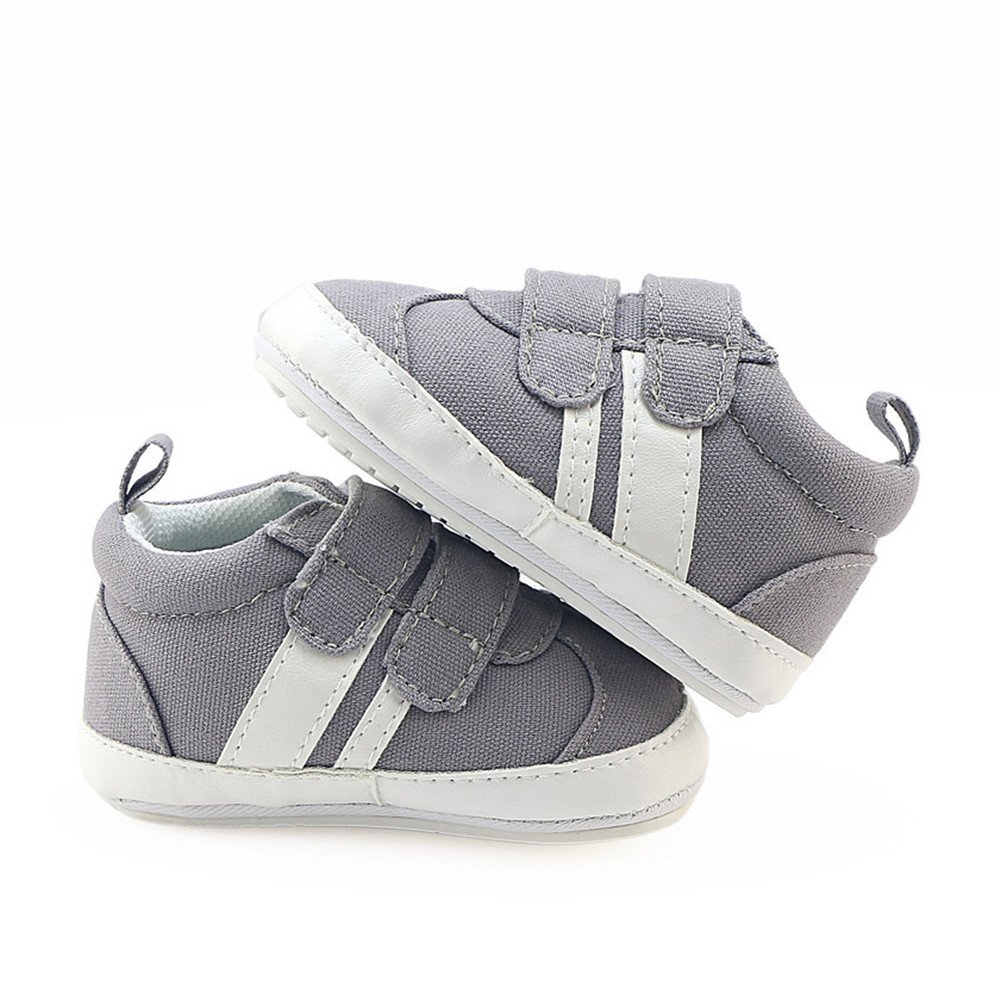 Isbasic Canvas Sneakers Shoes for Baby Boys Girls Toddler Non-Slip Rubber Sole Casual Infant Trainer (6-12 Months, Gray) by Isbasic (Image #5)