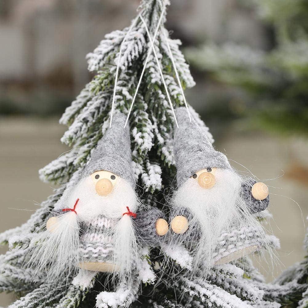 2 Pièces Décoration d'arbre Noël-Pendentif en bois Poupées Jouet Suspensions pour Sapin Noël Home Party Decor