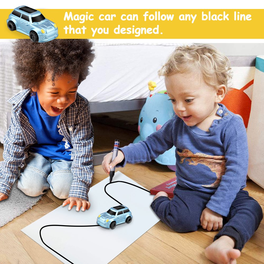 HUIBUDCH Magic Inductive Truck Toy Cars Magic Mini Car Children's Birthday Toy Gift [Follows Black Line] for Kids (Blue)