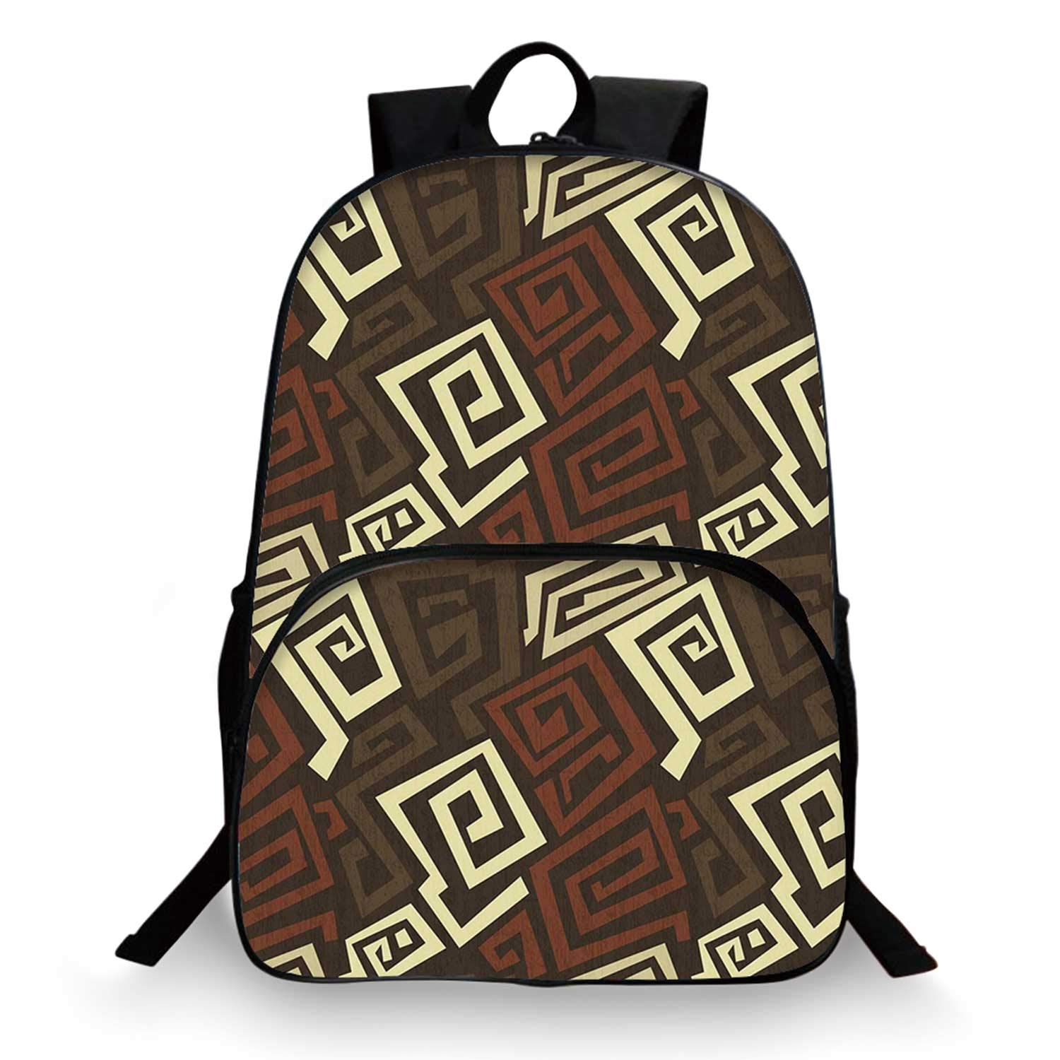 Grunge Various Schoolbag,Ancient Indigenous Design with Grunge Effect Twisted Lines Geometric Folk for student,11''Lx6''Wx15''H by C COABALLA