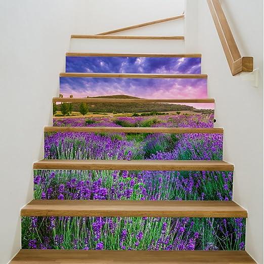QTZS Escalera Creativa De La Lavanda 3D De La Escalera Pegatinas Decorativas A Prueba De Agua 6 Unids: Amazon.es: Hogar