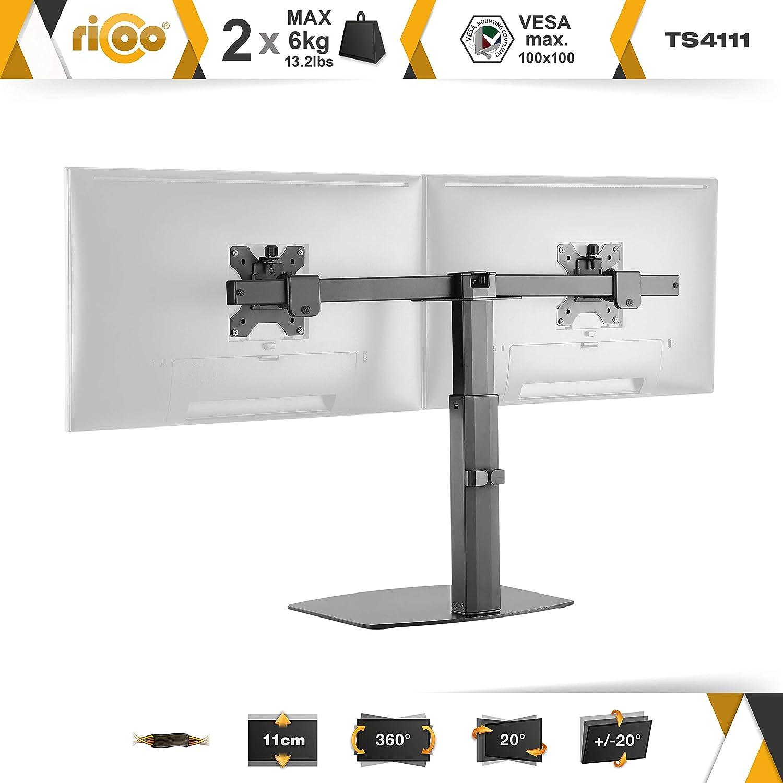 Dual Monitor Tisch-Halterung 2 Monitore Schwarz Gasdruck H/öhenverstellbar 17-27 Zoll RICOO TS4111 Neigbar PC-Bildschirme VESA 100x100 33-69 cm